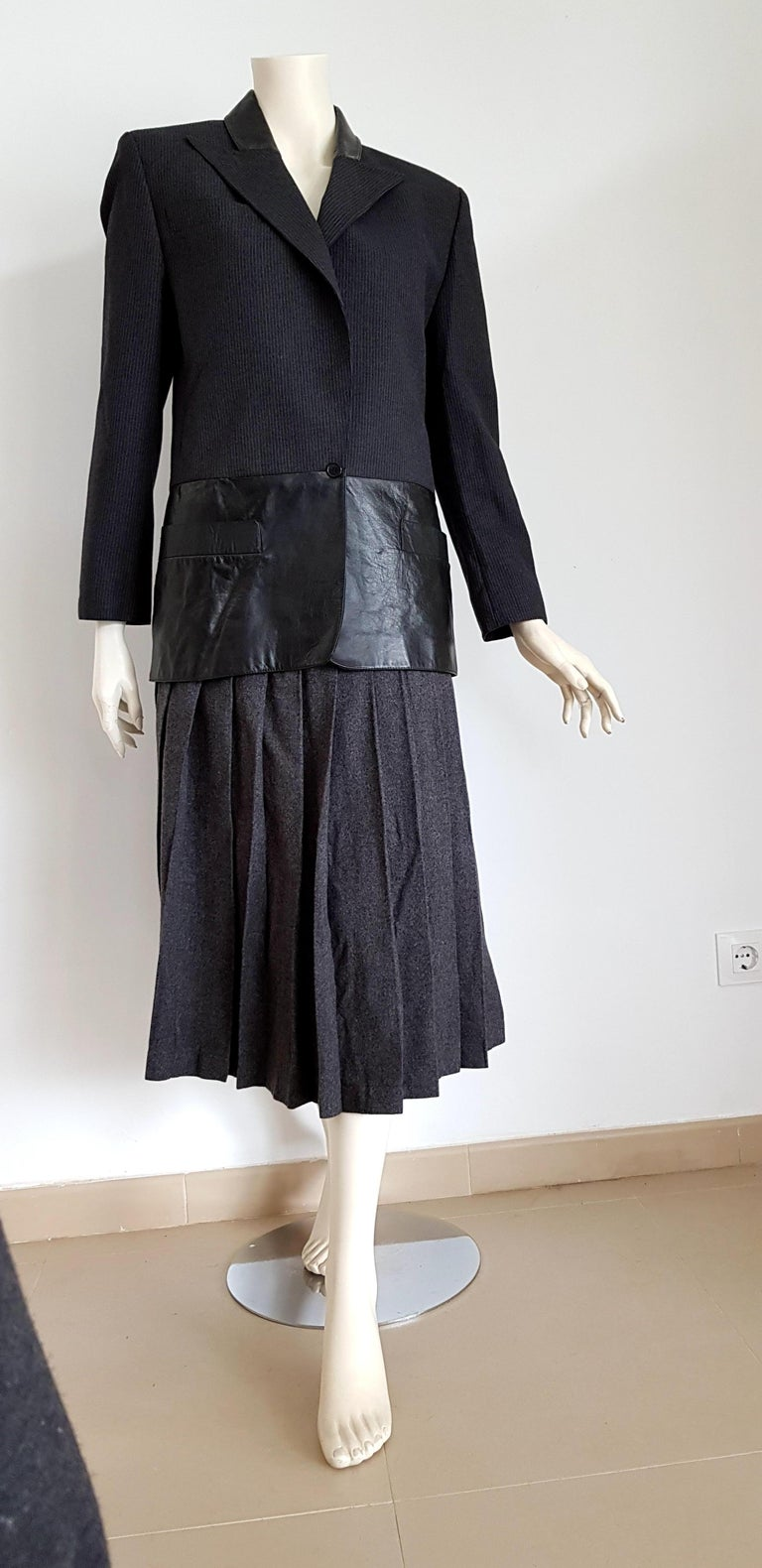 Claude MONTANA  wool and leather dark grey, jacket with light lines, skirt suit - Unworn, New. .. SIZE: equivalent to about Small / Medium, please review approx measurements as follows in cm.  JACKET: lenght 75, chest underarm to underarm 55, bust