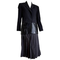 "Claude MONTANA  ""New"" Leather Gray Jacket with Lines Wool Skirt Suit - Unworn"