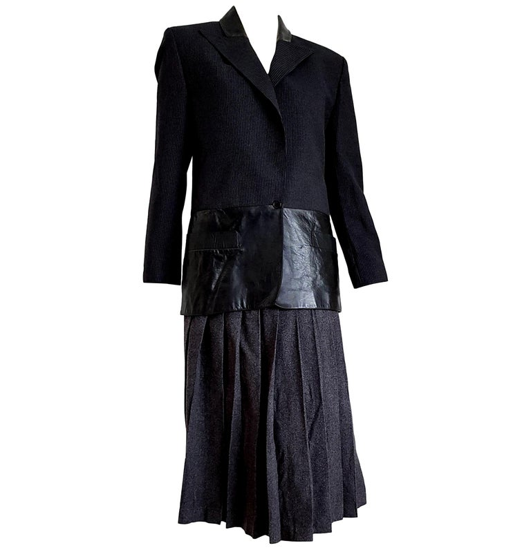 """Claude MONTANA  """"New"""" Leather Gray Jacket with Lines Wool Skirt Suit - Unworn For Sale"""