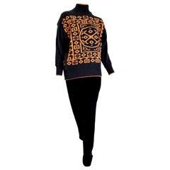 "Claude MONTANA ""New"" Sweater Maya Design Single Piece Black Wool Pants - Unworn"