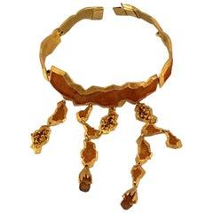 CLAUDE MONTANA Pour Marie Paris Enamel Nugget Lucite Charm Rigid Choker Necklace