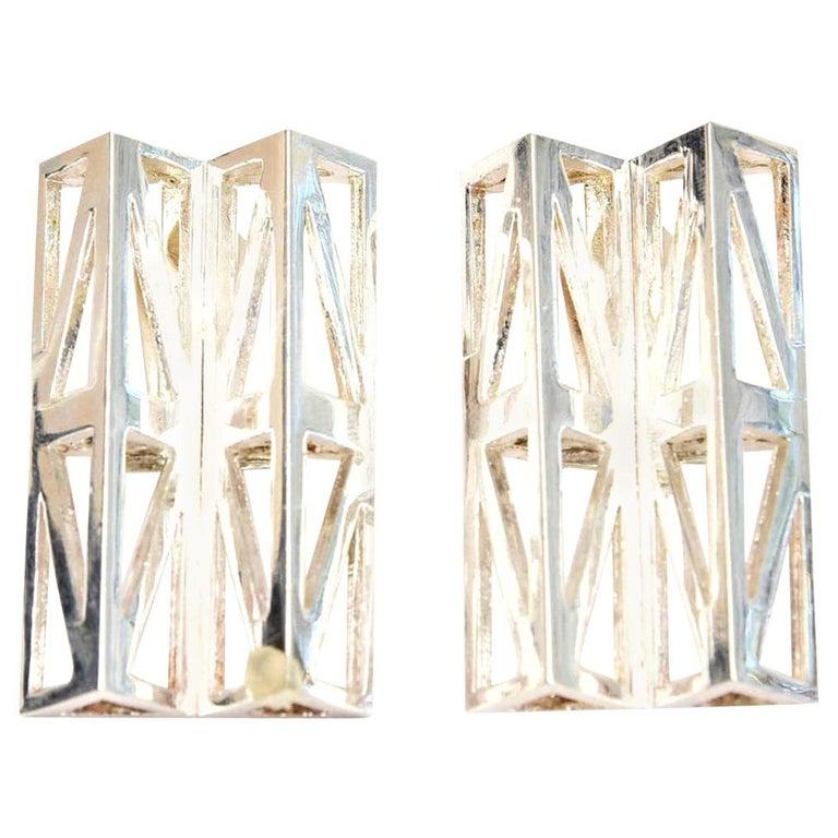 Claude Montana Silver Plate Geometric Runway Earrings  Vintage For Sale