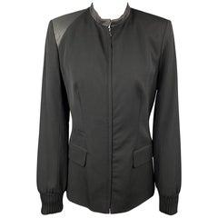 CLAUDE MONTANA Size 4 Black Two Toned Wool / Silk Zip Up Jacket