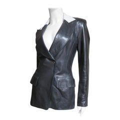 Claude Montana Striped Back Leather Color Block Jacket