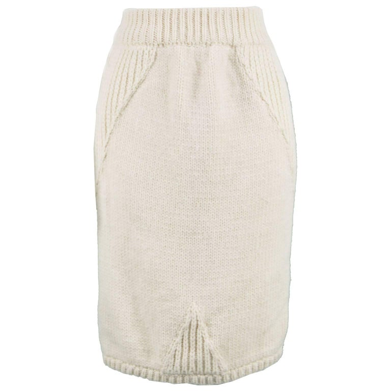 Claude Montana Vintage Chunky Thick Wool Cream Cable Knit Pencil Skirt, 1980s