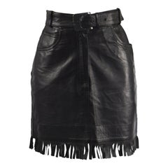 Claude Montana Vintage Black Leather Belted Fringed Western Style Skirt, 1990s