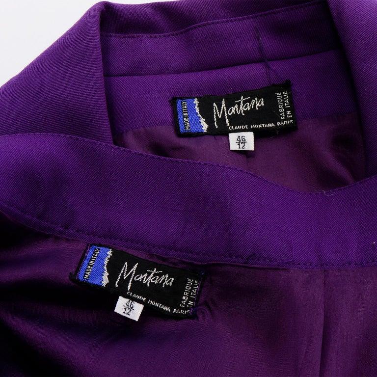 Claude Montana Vintage Purple Skirt & Longline Blazer Jacket W Woven Metal Belt  For Sale 6