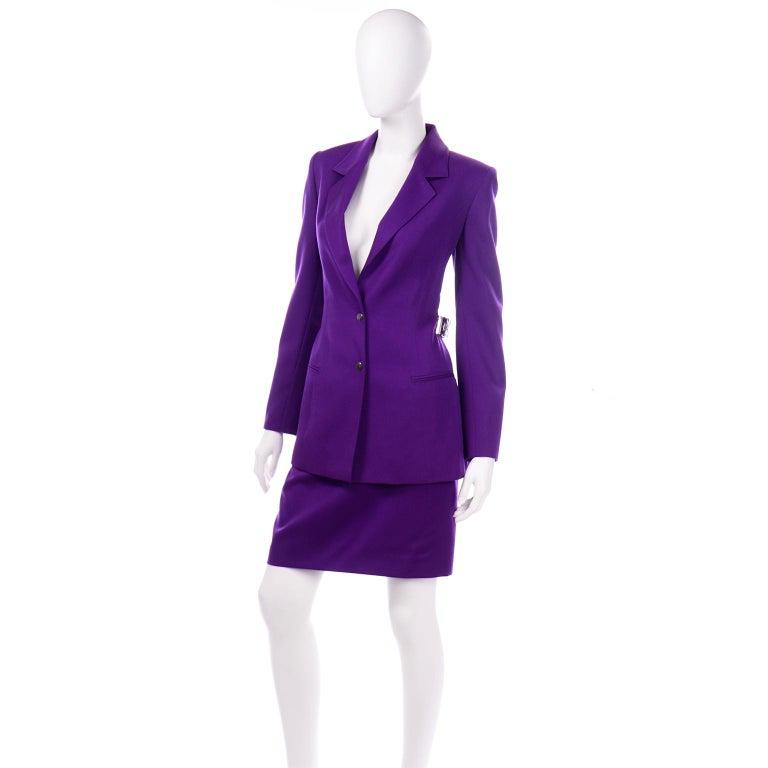 Claude Montana Vintage Purple Skirt & Longline Blazer Jacket W Woven Metal Belt  In Excellent Condition For Sale In Portland, OR