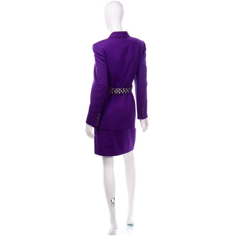 Women's Claude Montana Vintage Purple Skirt & Longline Blazer Jacket W Woven Metal Belt  For Sale