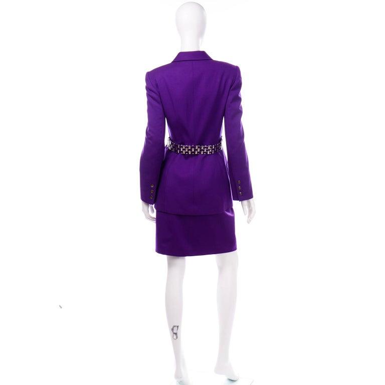 Claude Montana Vintage Purple Skirt & Longline Blazer Jacket W Woven Metal Belt  For Sale 1