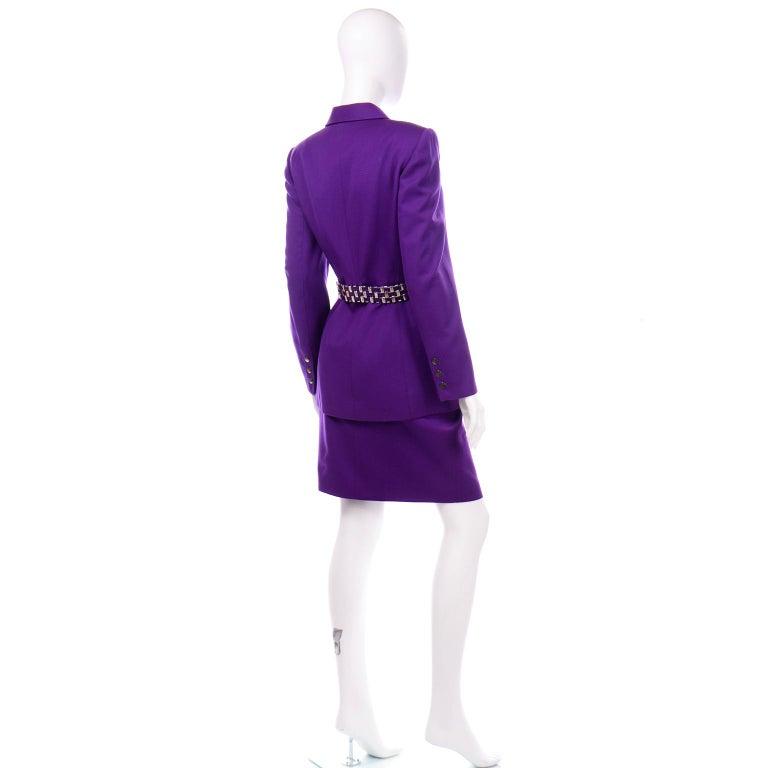 Claude Montana Vintage Purple Skirt & Longline Blazer Jacket W Woven Metal Belt  For Sale 2