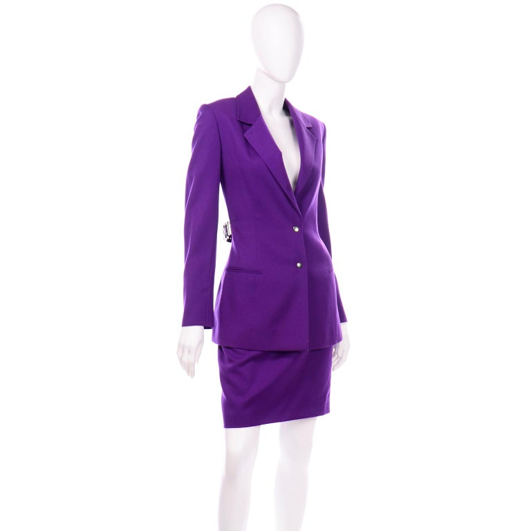 Claude Montana Vintage Purple Skirt & Longline Blazer Jacket W Woven Metal Belt  For Sale 3