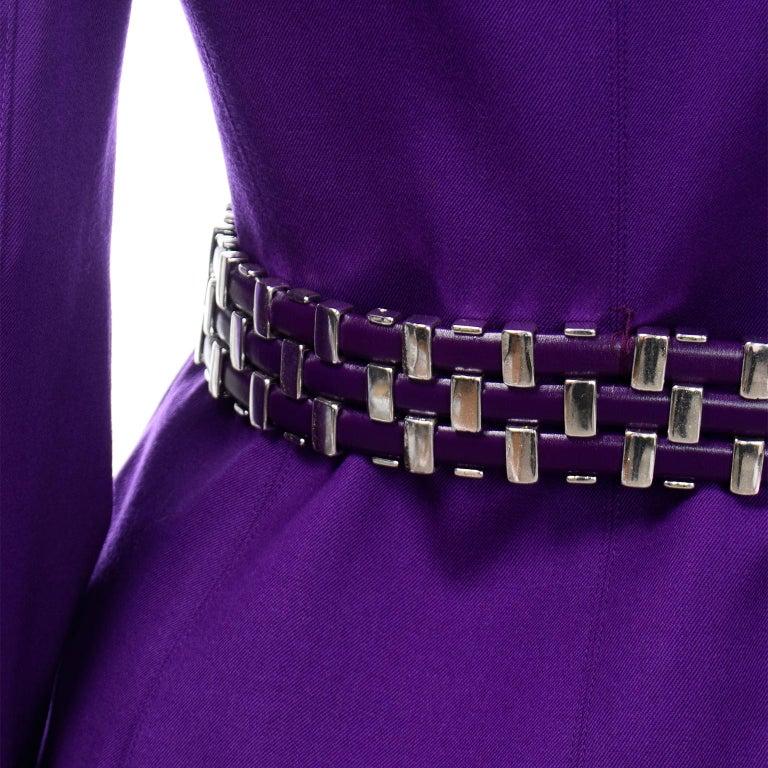 Claude Montana Vintage Purple Skirt & Longline Blazer Jacket W Woven Metal Belt  For Sale 4