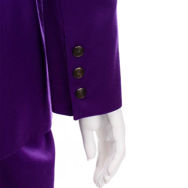 Claude Montana Vintage Purple Skirt & Longline Blazer Jacket W Woven Metal Belt  For Sale 5