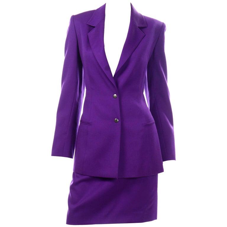 Claude Montana Vintage Purple Skirt & Longline Blazer Jacket W Woven Metal Belt  For Sale