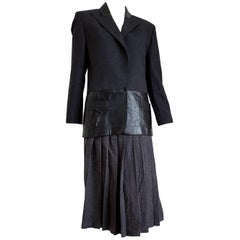 Claude MONTANA  wool leather grey, jacket with light lines, skirt suit - Unworn