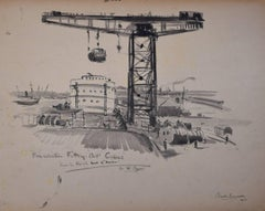 Claude Muncaster Finniston Fitting Out Crane Glasgow Drawing 1954