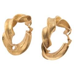 Claude Pelletier 18k Yellow Gold Twisted Hoop Earrings, Unique