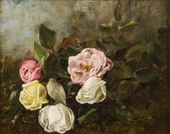 Roses, Floral Still-life by Claude Raguet Hirst (1855-1942, American)