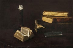 Still-Life of Books, a Candlestick & Glasses by Claude Raguet Hirst (1855-1942)