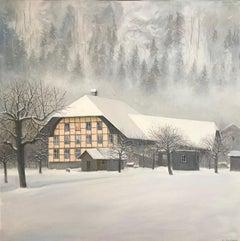 Snow-covered building in Signau, Emmental Switzerland