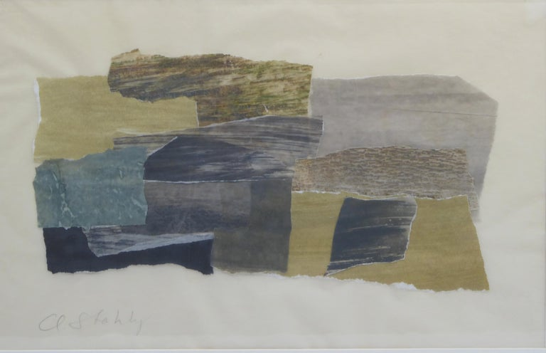 Claude Stahly; Maquette for a tapestry design, framed under glass; Pencil-signed; Claude Stahly was the wife of sculptor Francois Stahly, French collage artist.