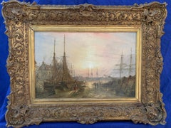 English Victorian 19th century marine port scene with boats in an Harbor