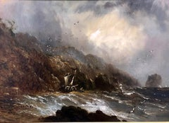 The Undercliff At Rocken End, Isle Of Wight - Stormy Coastal Oil Painting