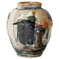 Claude Varlan, Abstract Stoneware Ceramic Vase Painted Color Black Pottery Glaze