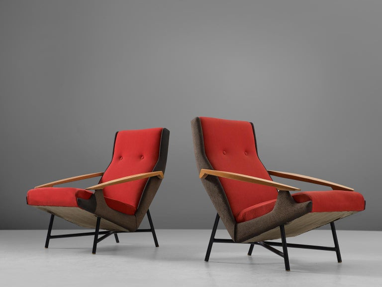 French Claude Vassal Set of Two Lounge Chairs in Duo-Tone Upholstery For Sale