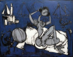 Abstract Post Cubist Painting Nude on a Beach  'The Bather' , blue & white