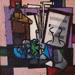 Abstract Purple Composition 'Still Life with Music Sheet' by Claude Venard.