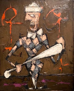 'Arlequin' Figurative Clown Abstract painting, checkerboard, purple & dark