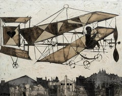 'Bi-plane with Heart' Chromatic Aeroship with Paris skyline and Eiffel tower