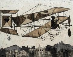 'Bi-plane with Heart' Chromatic Aeroship with Paris skyline and Eiffel tower
