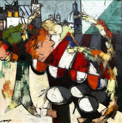 Colourful Post-Cubist Paris Street Scene 'Terrace de Cafe' by Claude Venard