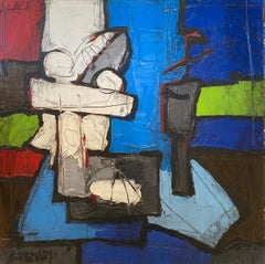 'Composition Bleu et Rouge' Abstract Cubist Style Still Life Painting Blue & Red