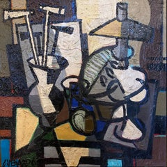 Cubist Abstract Composition 'Still Life with Desk' by Claude Venard, dark colour