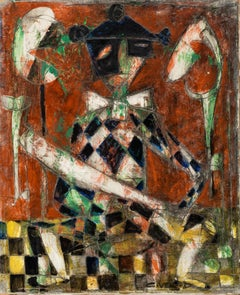 Cubist Still-Life Painting by Claude Venard 'Checkerboard Arlequin'