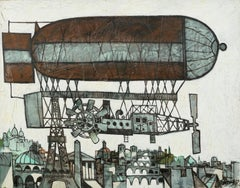 'Le Aeroship' Chromatic Post-Cubist Oil Painting, brown, grey & white. Paris sky