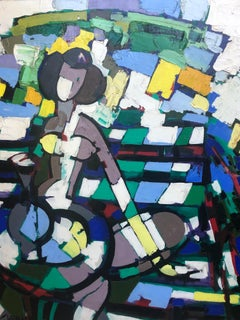 'Le Femme Vert' Colourful Abstract Nude Painting by Claude Venard