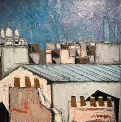 'Le Sacre Coeur' French Paris Landscape painting of rooftops, blue, pink & grey