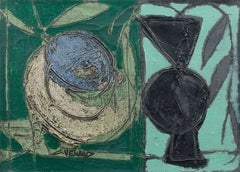 'Nature Morte avec Olive' Post-Cubist Abstract Still-Life Oil Painting