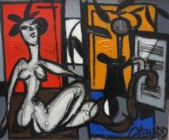 Interior 20th Century Post-Cubist Painting by Claude Venard 'Nu Dan Atelier'