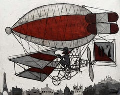 Paris Skyline Abstract Red&White Painting 'No.7 Red Biplane' by Claude Venard