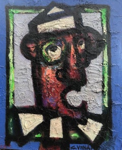 Post Cubist Abstract 20th Century Colourful Painting 'Le Clown' by Claude Venard