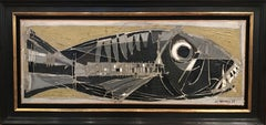 Post Cubist Abstract Painting of a Fish 'le Dorade' by Claude Venard