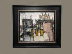 'Sacre Coeur, Paris' Abstract cityscape painting of Paris, Pink, yellow, white