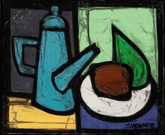 'Still-Life with Coffee Pot' Post-Cubist Abstract Oil Painting  by Claude Venard