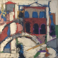 """Venice Canal, Italy"" Claude Venard, French Post-Cubist Mid-Century Modern"
